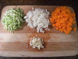 mirepoix (celery, onions, carrots) and garlic
