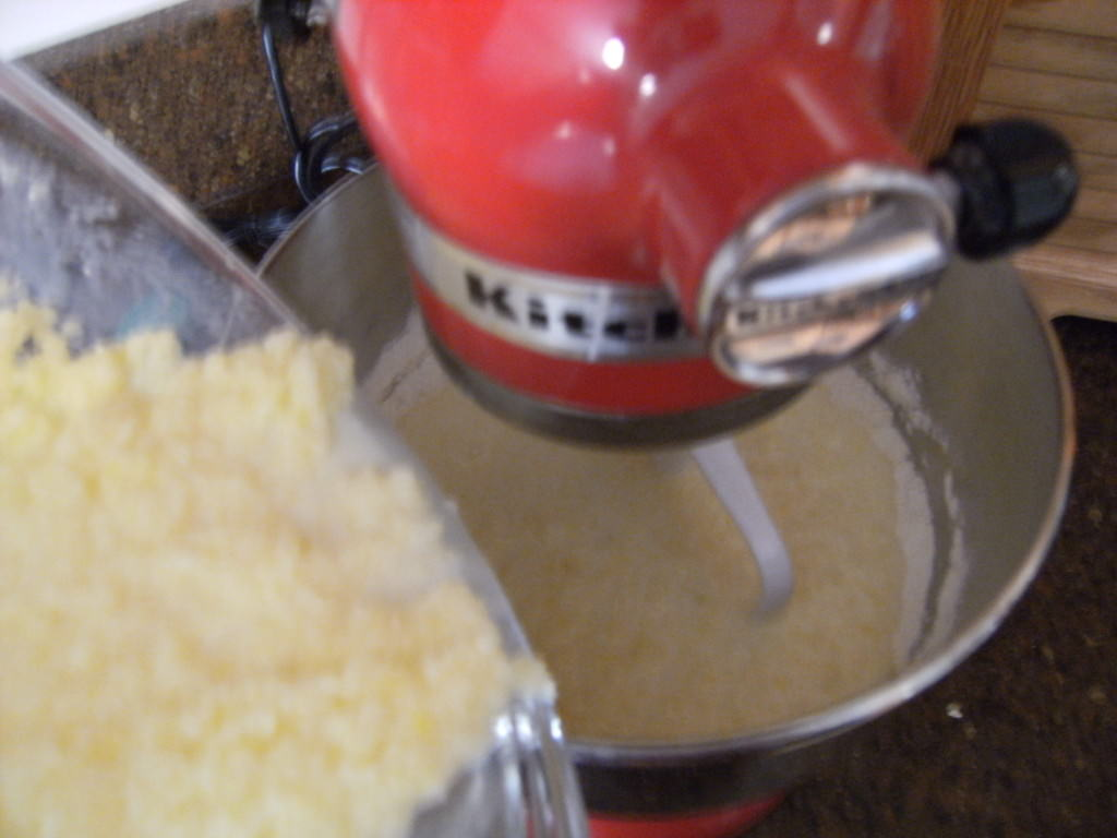 Mixing ingredients for homemade corn muffins