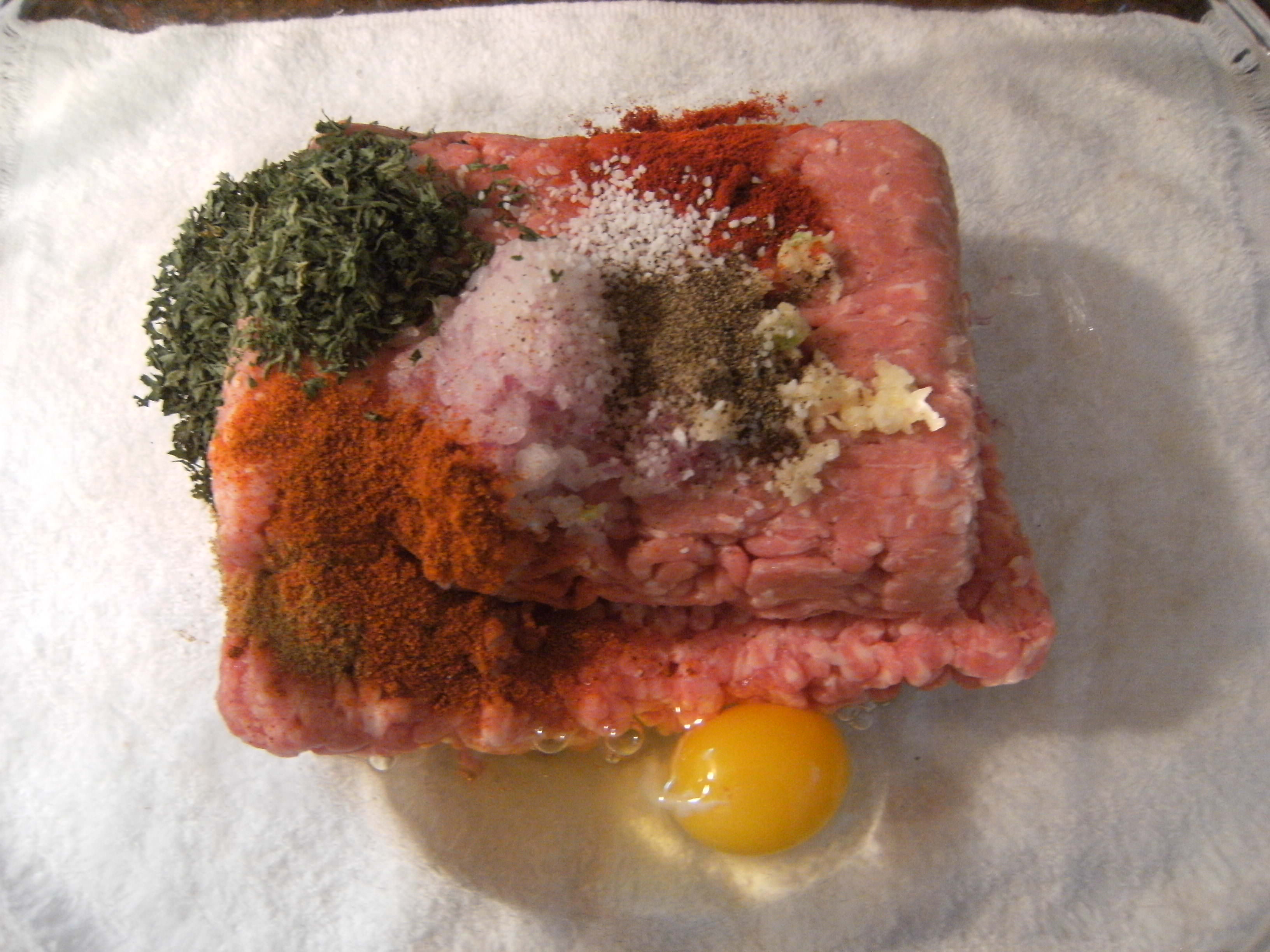 ground meat and other ingredients needed to make Kafta