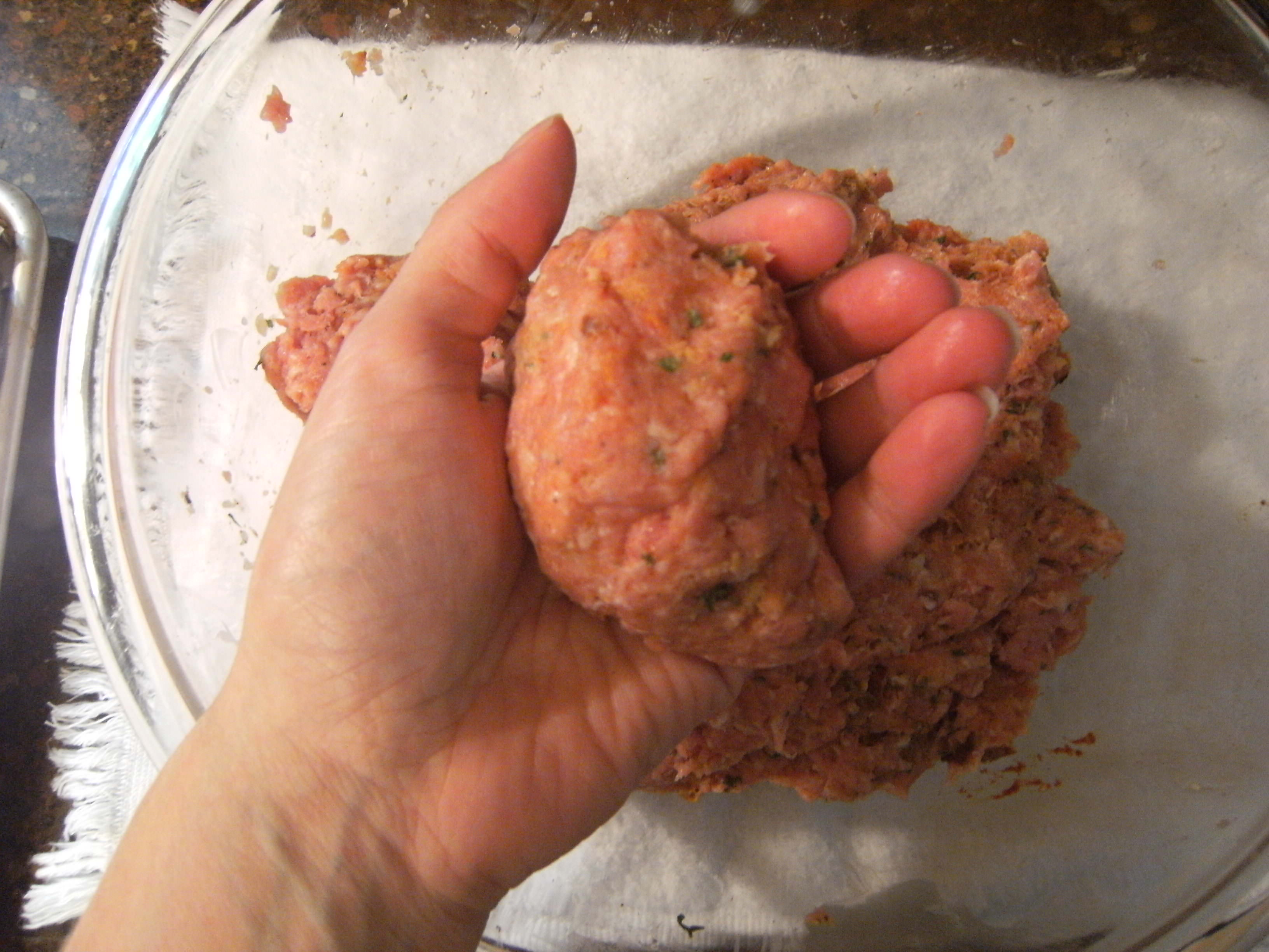 Making kafta meat balls