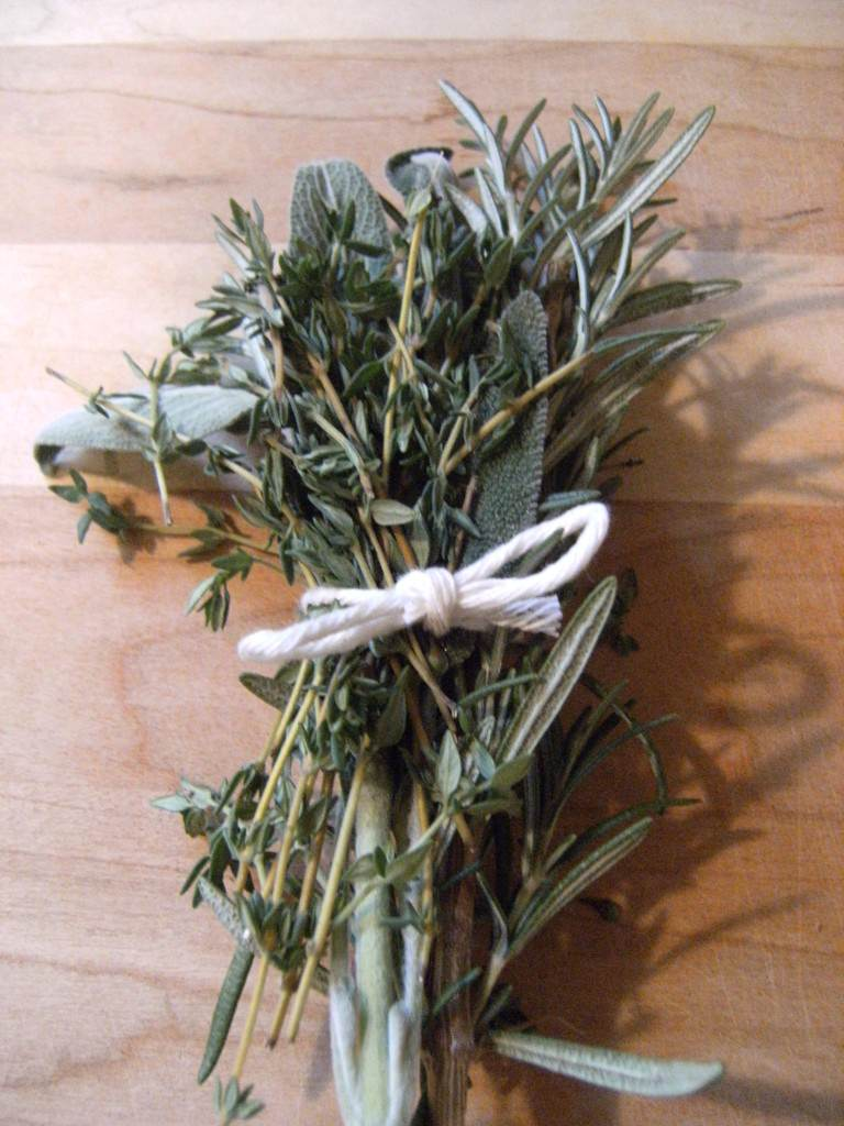 bouquet of fresh herbs for roasted turkey
