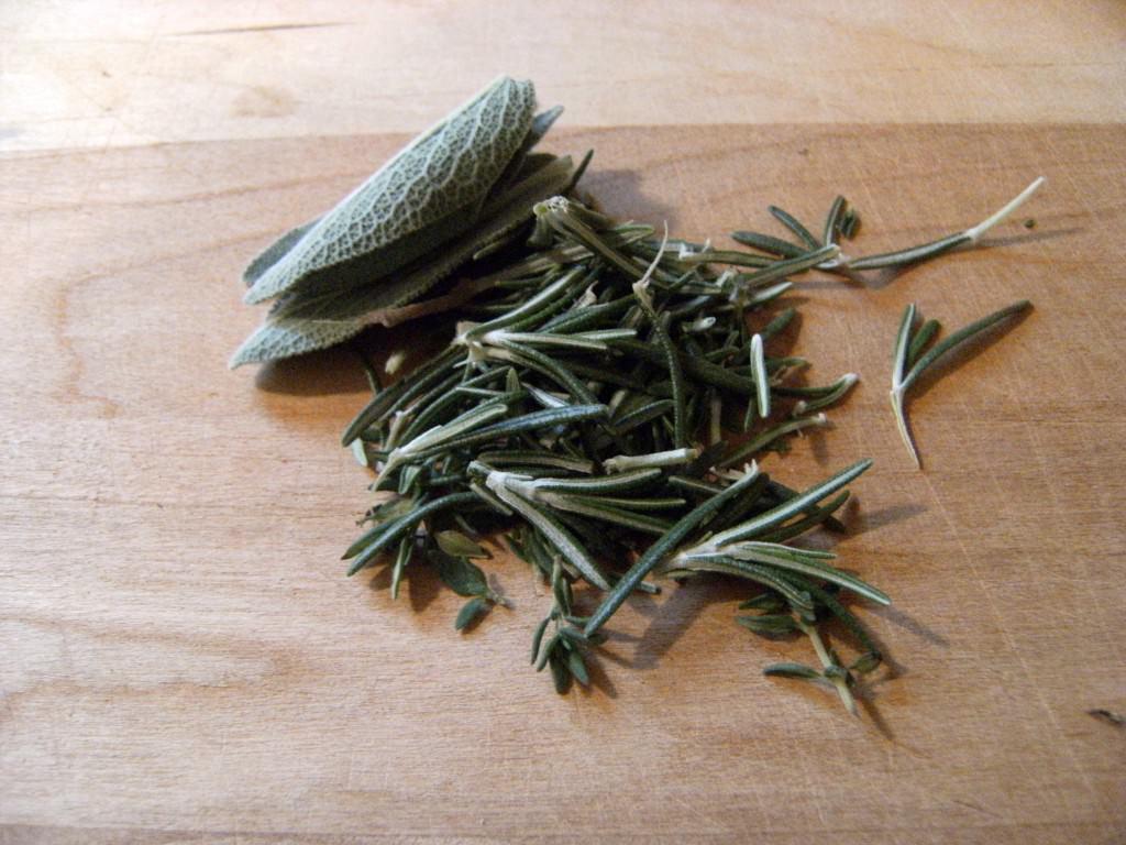 herbs removed from their stems for making roasted turkey