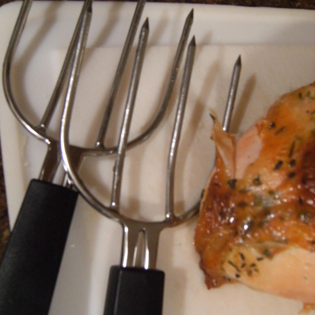 Use meat lifters to remove a roasted turkey from the roasting pan