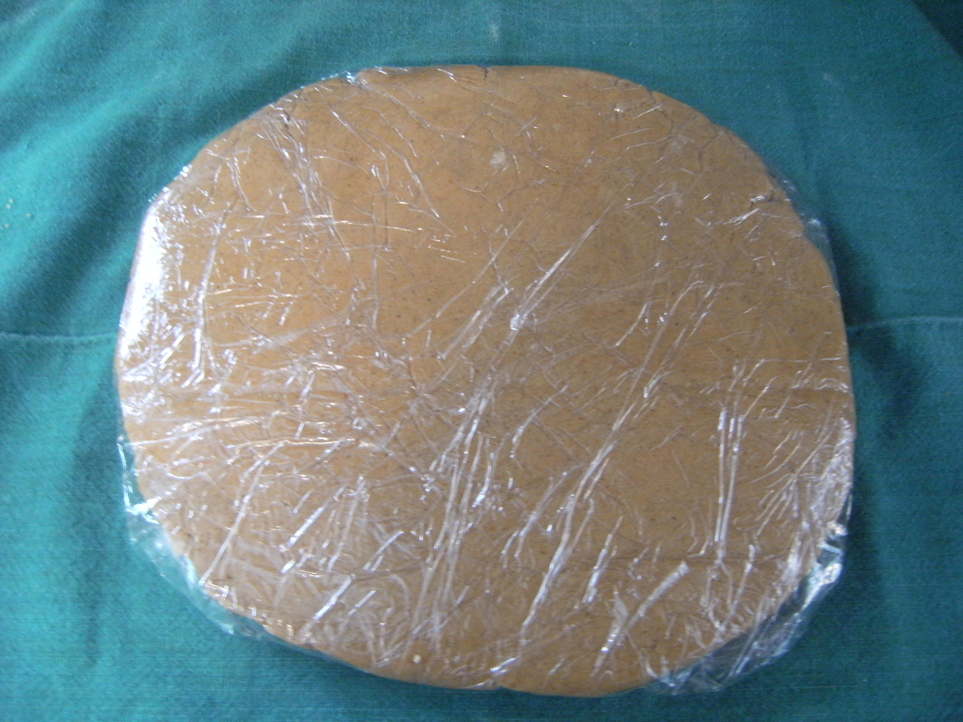 A disc of pfeffernusse cookie dough