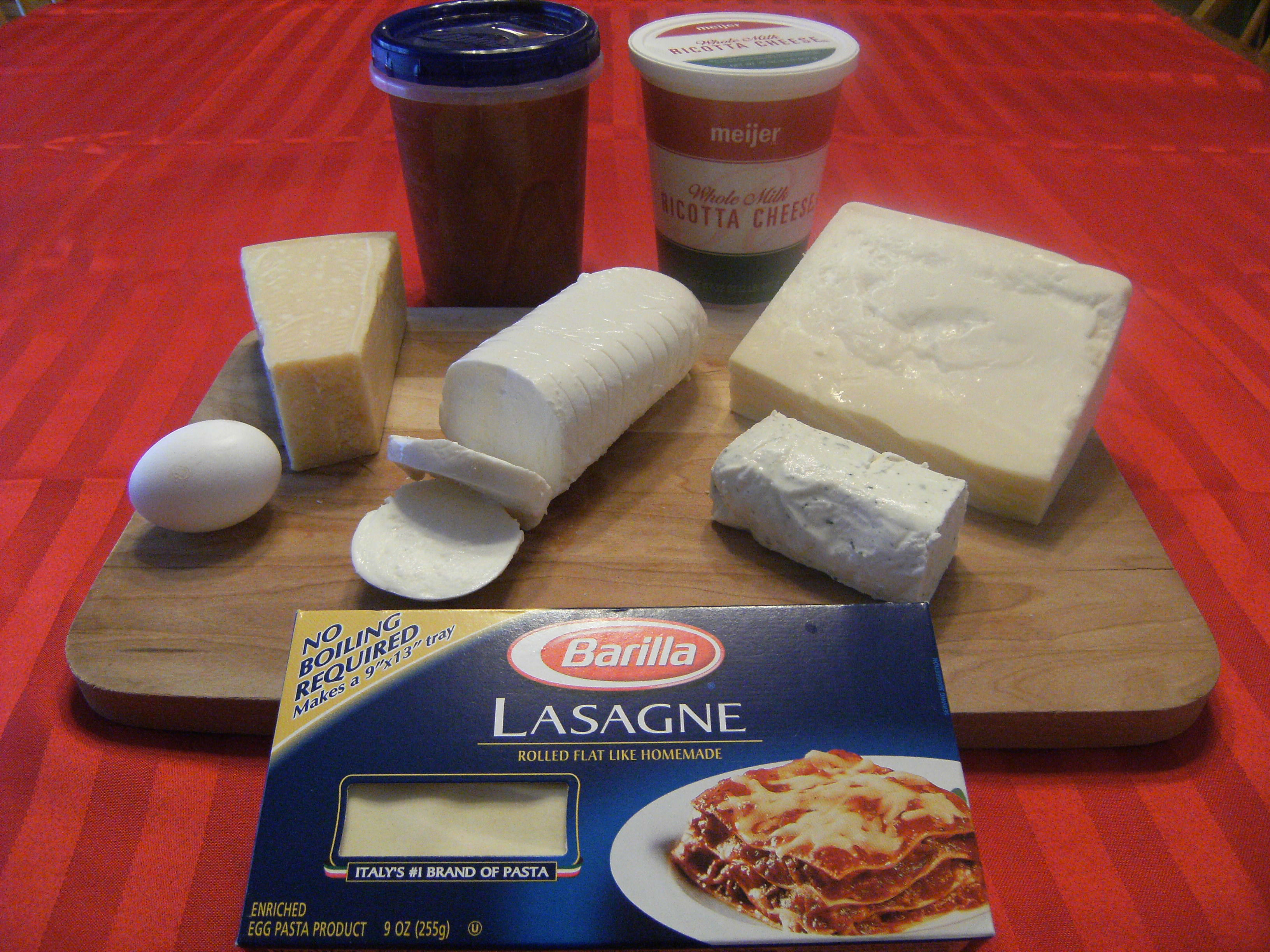 ingredients for making classic meat lasagna