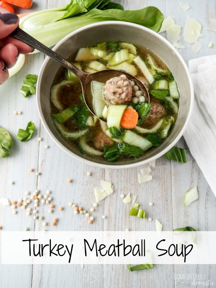 Bowl of Turkey Meatball Soup on a light background with sprinkles of couscous,and shredded bok choy around it.