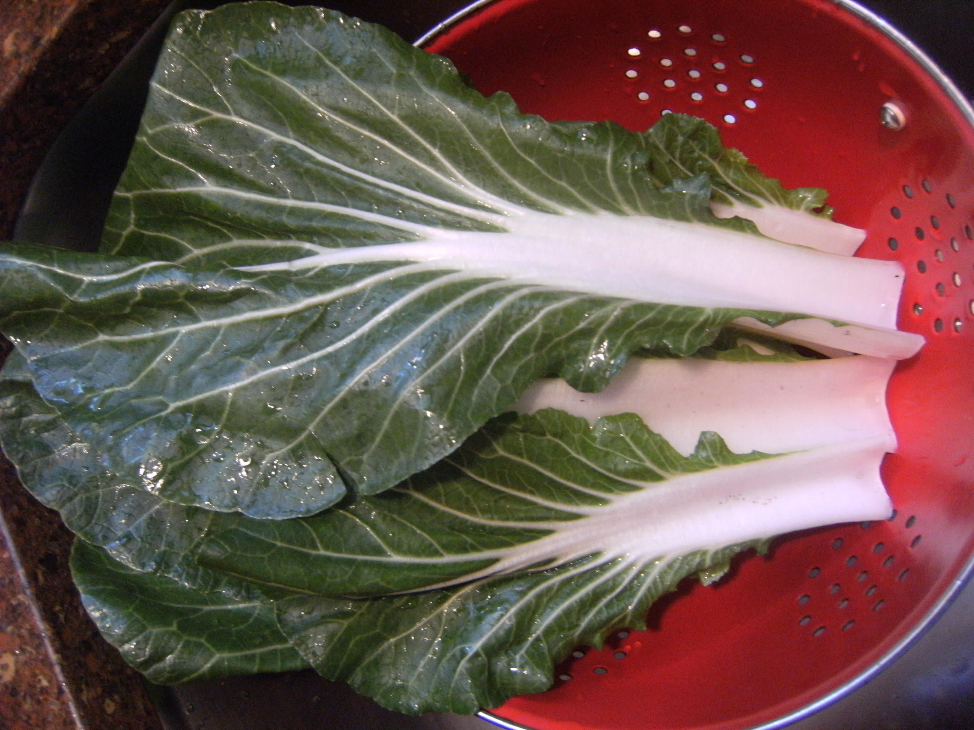 making Turkey Meatball Soup - cleaning bok choy leaves