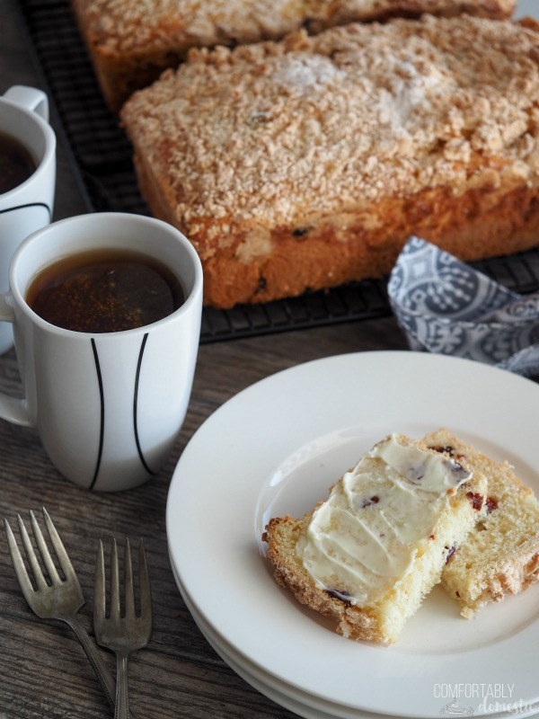 "Polish-Coffee-Cake, a.k.a. ""Placek"" is lightly sweet bread studded with dried fruit and a sugary topping. Traditionally made in 3's to represent the Holy Trinity at Easter time."
