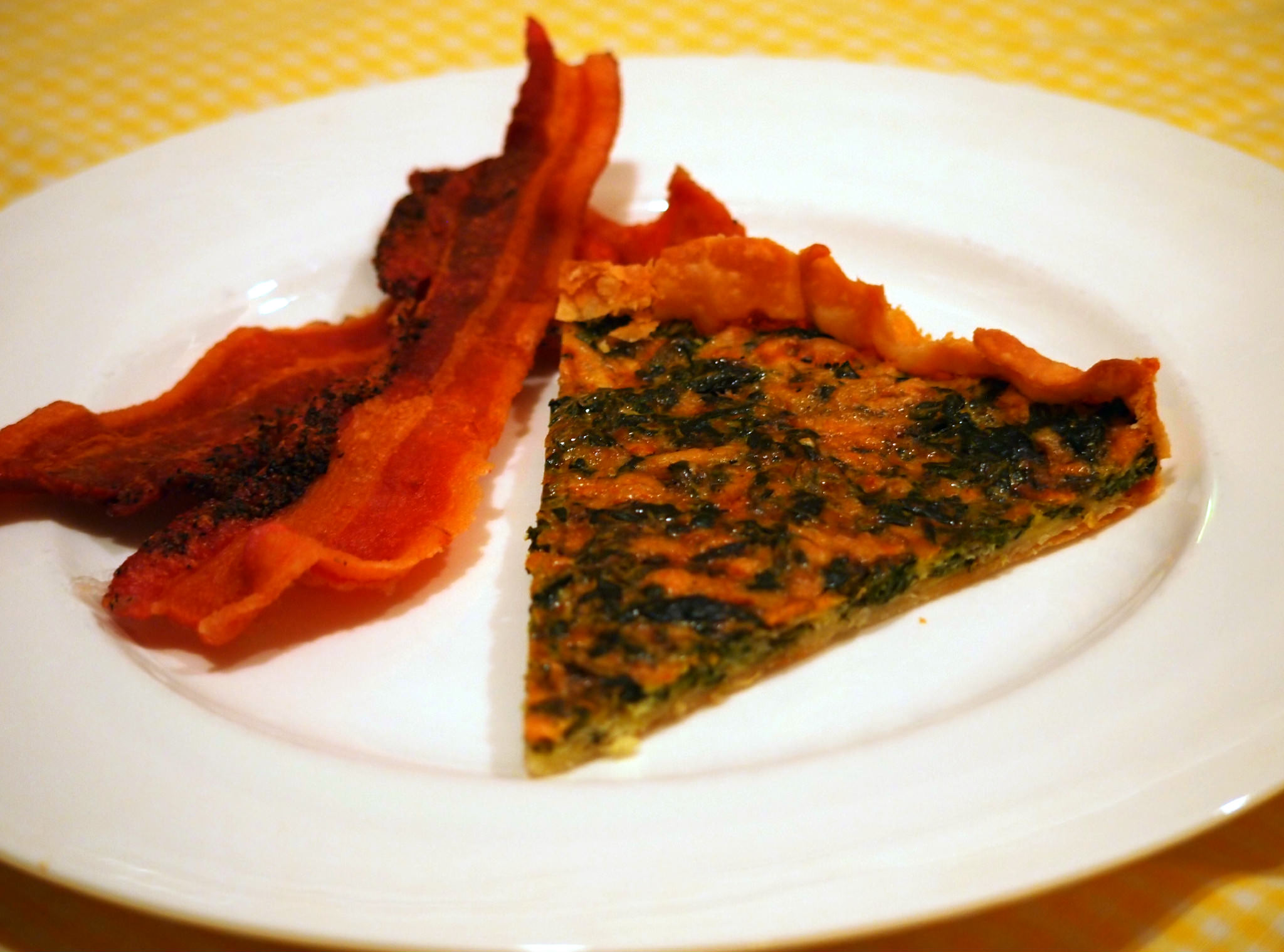 Slice of simple spinach tart