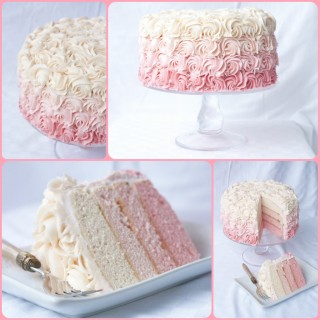 Roses, buttercream roses, beautifully covering a rich, moist, delicious ombre layer cake! This dessert is almost too gorgeous to eat!