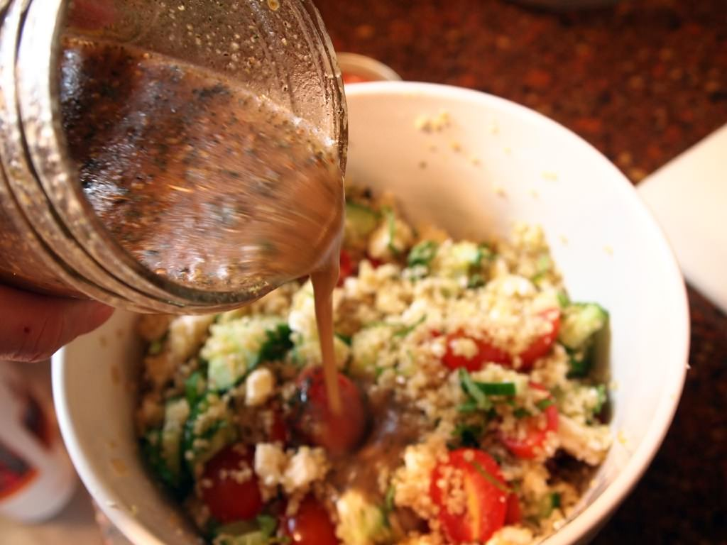 Greek quinoa salad is a fresh, light side dish, packed with wholesome quinoa, fresh cucumbers, grape tomatoes, mint, and feta cheese.   ComfortablyDomestic.com