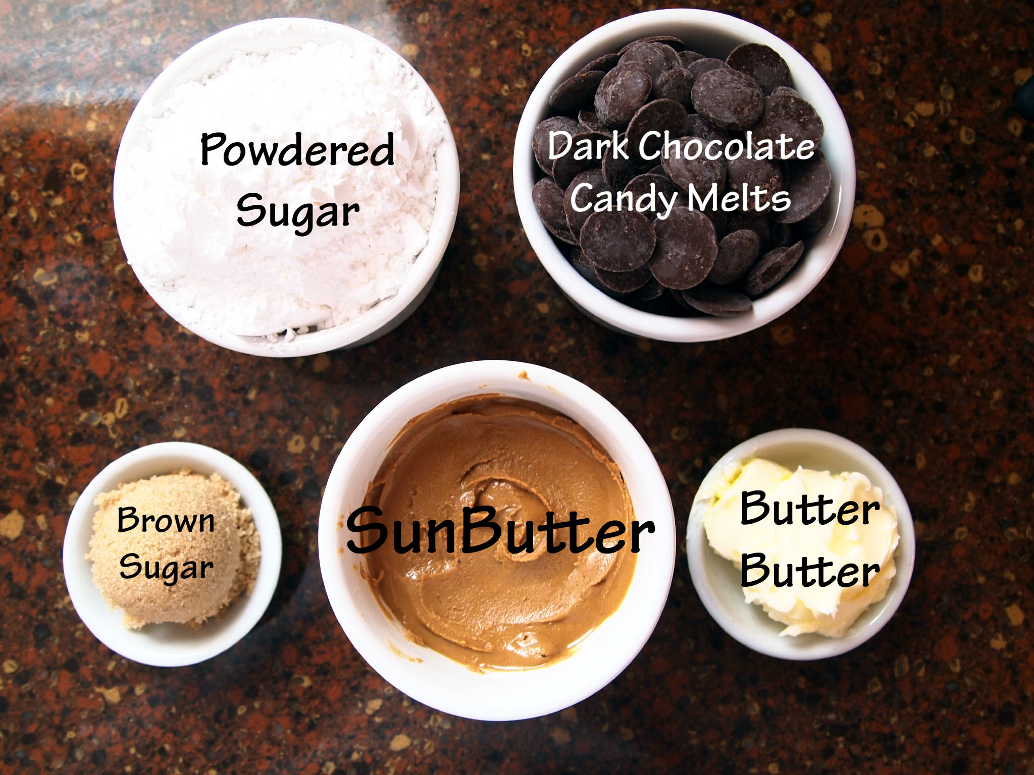 Ingredients needed to make Dark Chocolate SunButter Candy Bars | ComfortablyDomestic.com