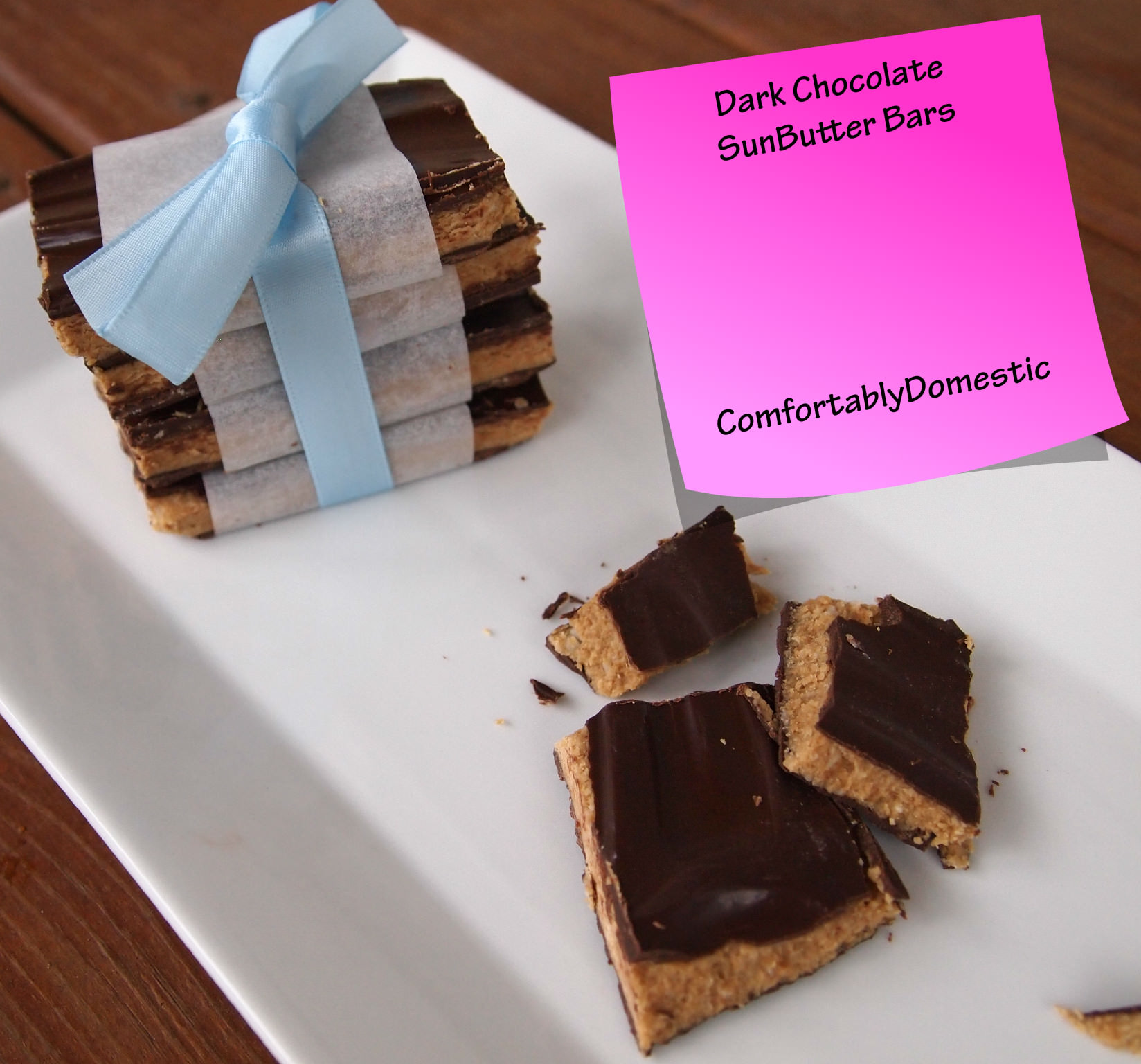 Dark Chocolate SunButter Candy Bars | ComfortablyDomestic.com are a delicious, allergy friendly copy cat of a Reese's peanut butter cup because it's nut free!