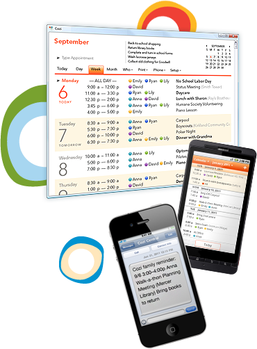 Free online shared calendar to manage activities and get the family organized.