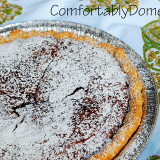 Fudge brownie pie is an incredibly easy-to-make dessert, full of gooey, fudgy brownie goodness. \\ ComfortablyDomestic.com