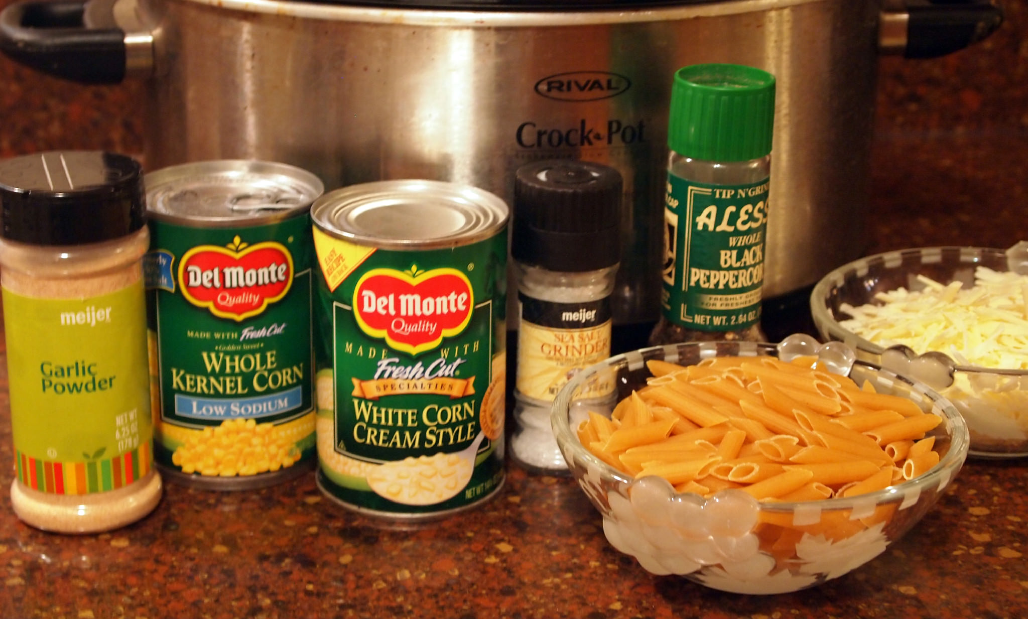 Ingredients to make Creamed Corn Macaroni and Cheese