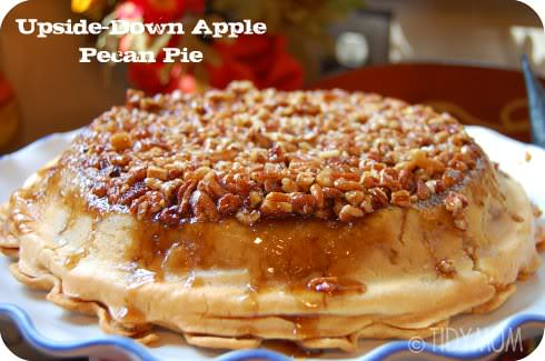 upside down apple pecan pie recipe at TidyMom.net