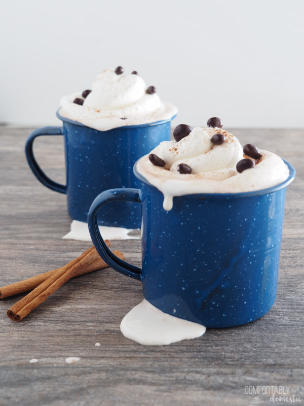 Two blue enamelware mugs of prepared Mayan Hot Cocoa Mix with whipped cream, freshly grated cinnamon, and chocolate covered cacao nibs sprinkled on top.