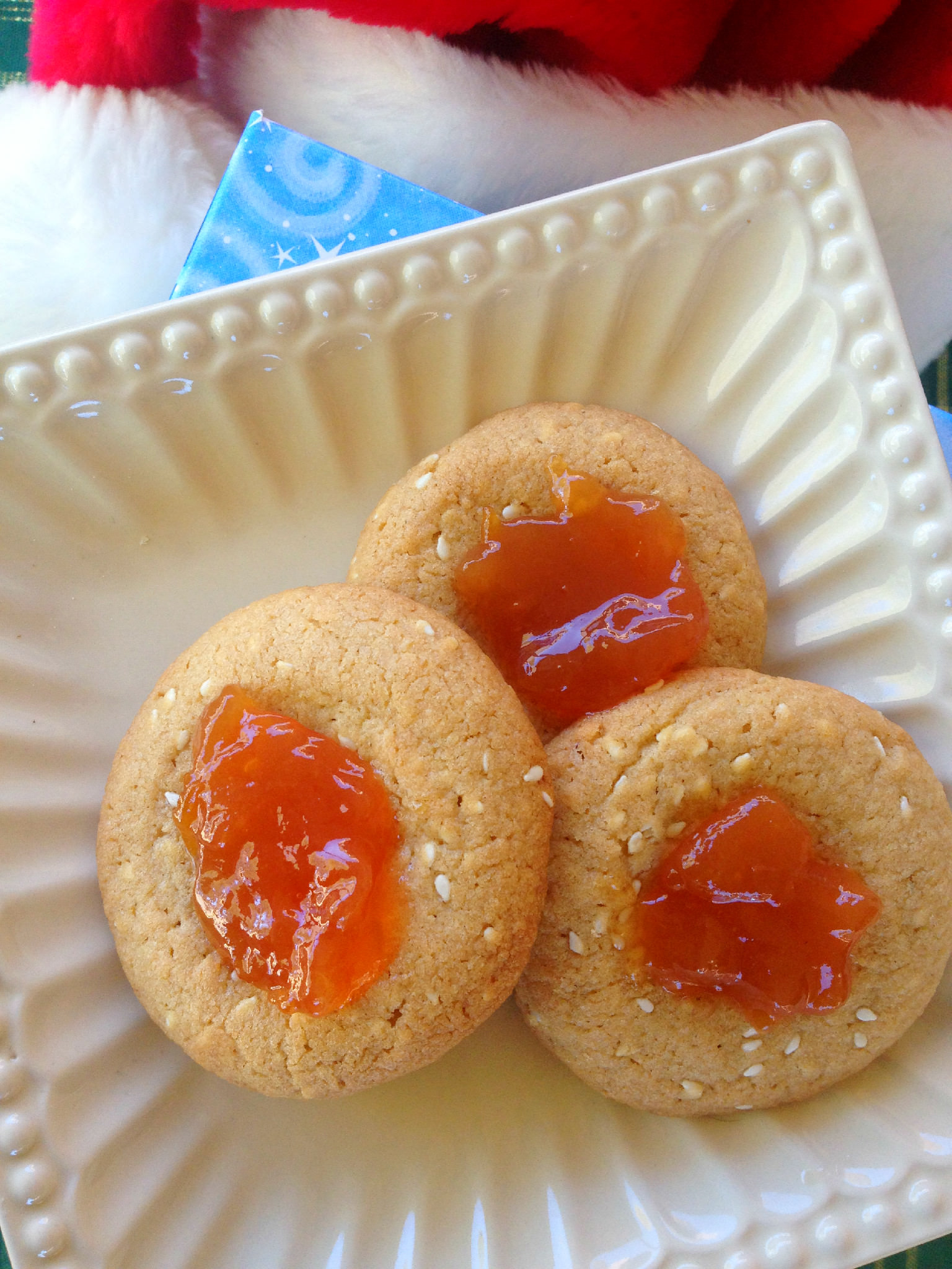 Allison's Sesame Plum Thumbprint Cookies