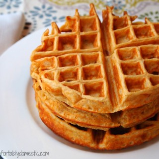 Whole Wheat Maple Bacon Waffles | Recipe on ComfortablyDomestic.com