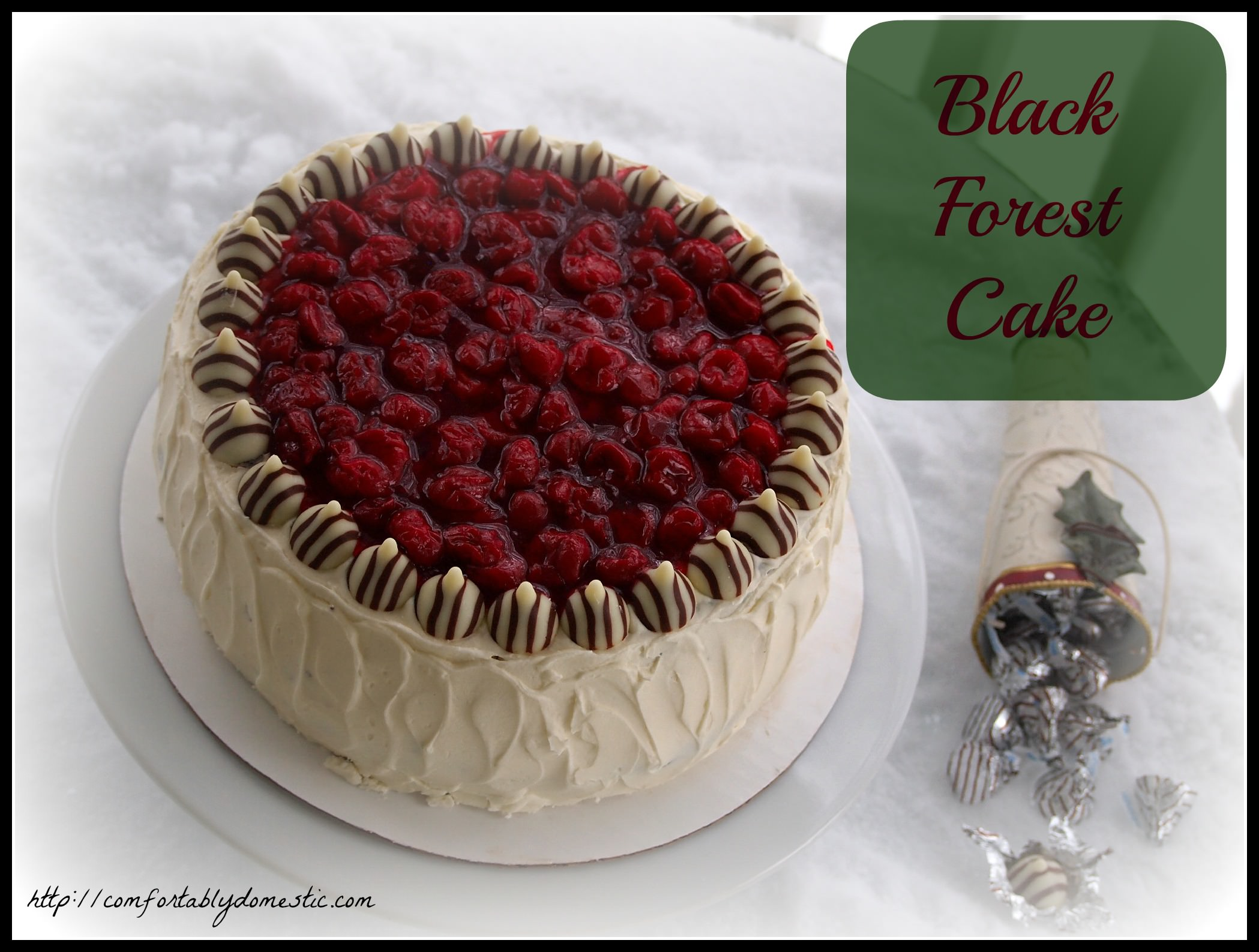 Black forest cake is an indulgent chocolate-cherry dessert. Layers of rich chocolate cake, sweet cherry filling, and white chocolate buttercream frosting. | ComfortablyDomestic.com