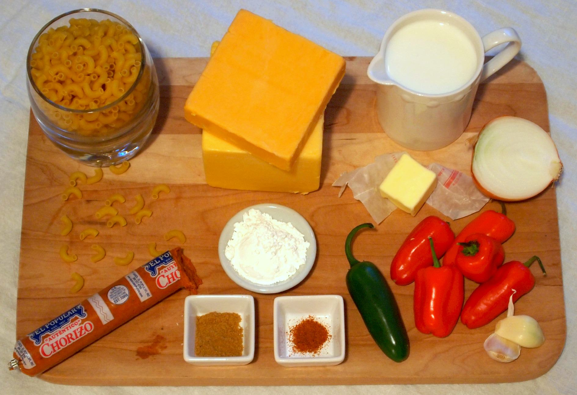 Queso Macaroni and Cheese ingredients