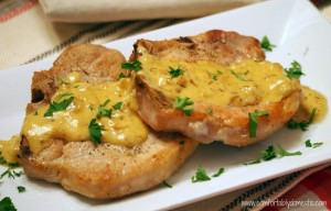 Pork Chops with Maple-Dijon Cream Sauce via ComfortablyDomestic.com