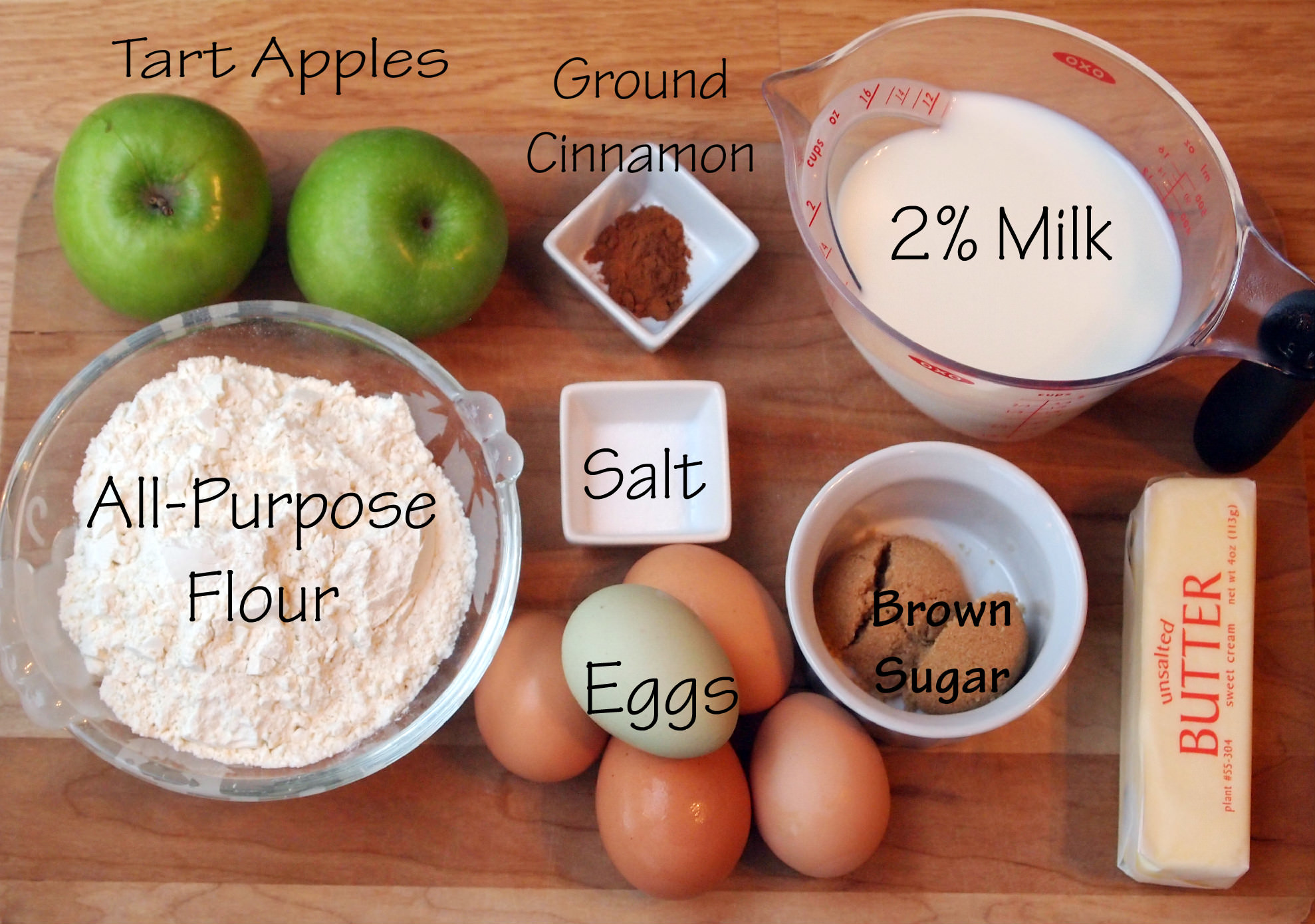 ingredients needed to make baked apple pancakes | ComfortablyDomestic.com
