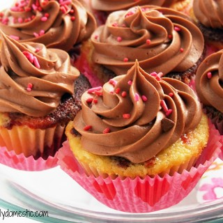 Red Velvet Vanilla Cupcakes with Milk Chocolate Buttercream | ComfortablyDomestic.com