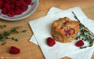 Raspberry thyme goat cheese biscuits are tender and flaky, with just the right touch of raspberry sweetness to compliment the thyme and creamy goat cheese.
