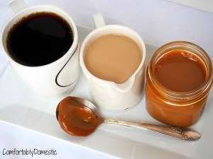 Homemade dulce de leche coffee creamer is creamy and delicious way to make coffee house drinks at home.