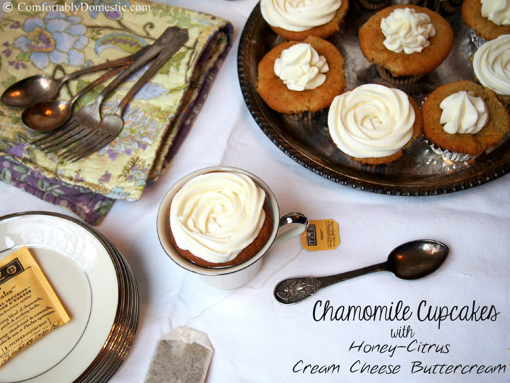 Chamomile Cupcakes with Honey-Citrus Cream Cheese Buttercream Frosting | ComfortablyDomestic.com