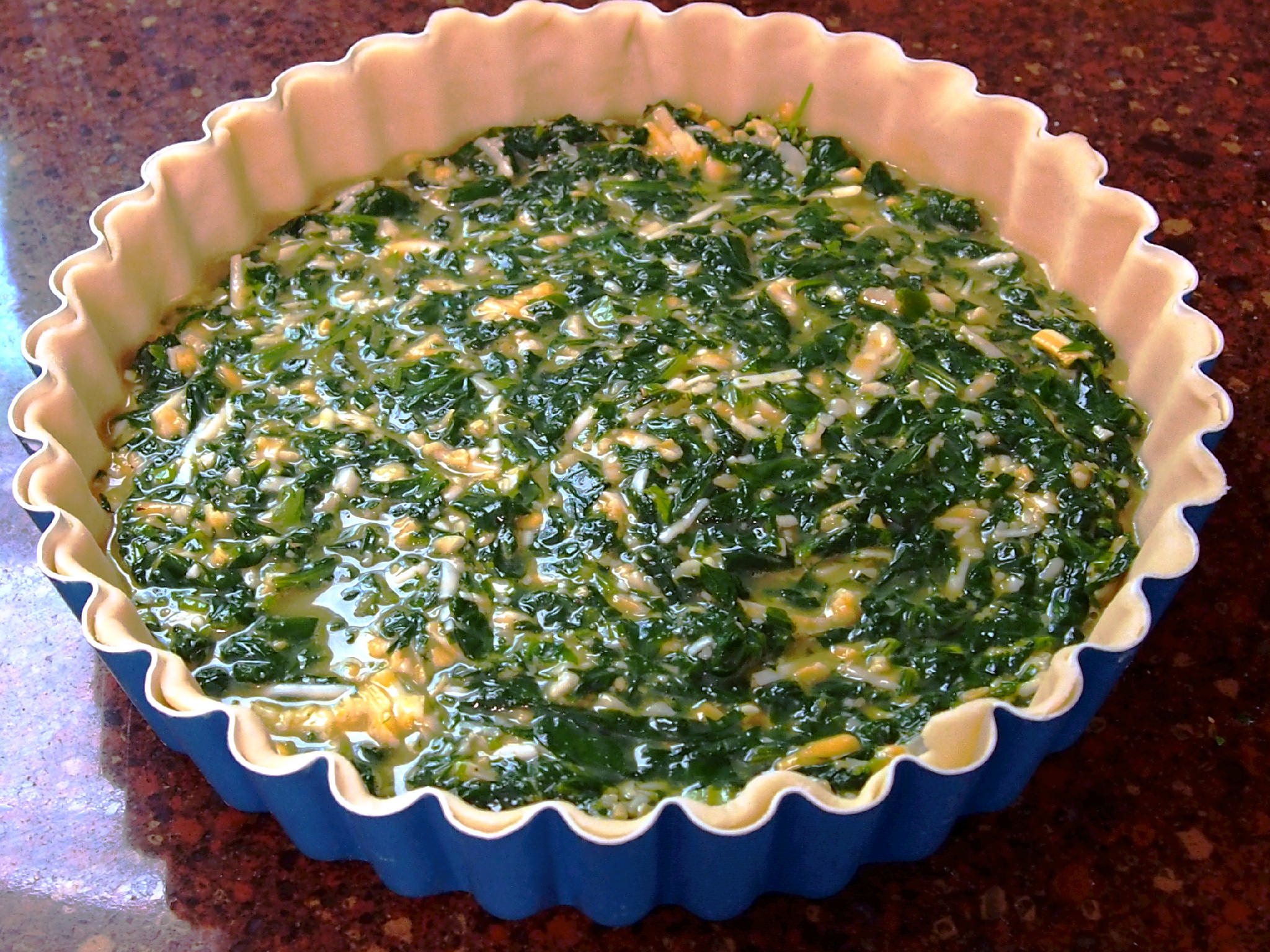 pre-baked fresh spinach tart