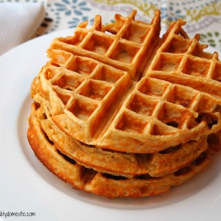 Cornmeal buttermilk waffles are a breakfast lover's treat! With the addition of cornmeal, these savory waffles are especially wonderful! | ComfortablyDomestic.com