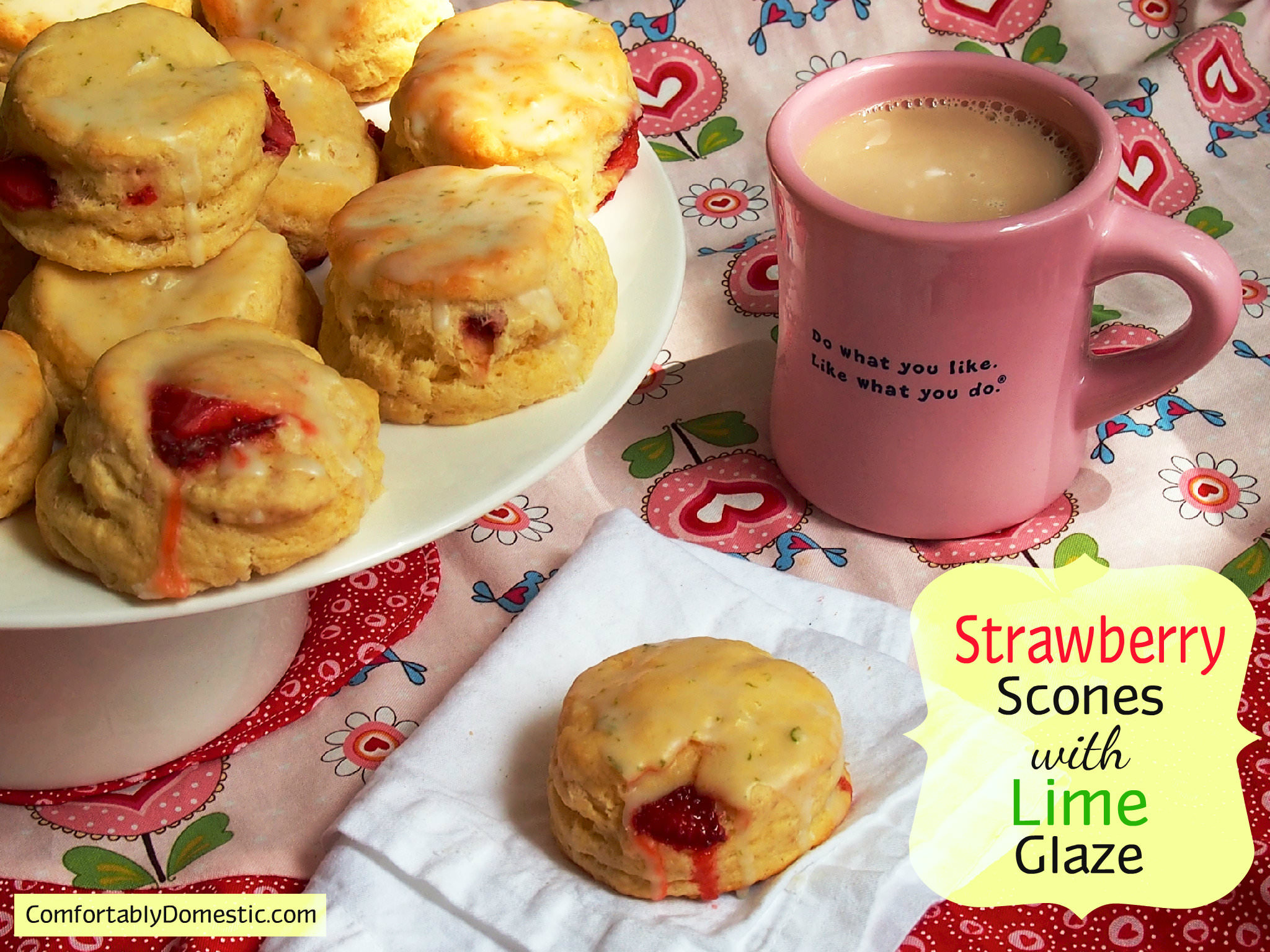 Strawberry Scones with Lime Glaze Header | ComfortablyDomestic.com