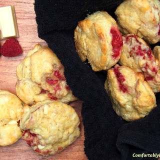 White Chocolate Raspberry Scones marry sweet, juicy raspberries with creamy chunks of white chocolate to make the most delightful treat for breakfast. | ComfortablyDomestic.com
