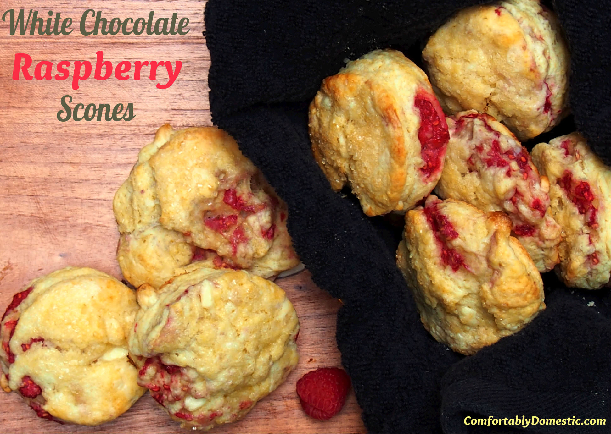 White Chocolate Raspberry Scones by ComfortablyDomestic.com