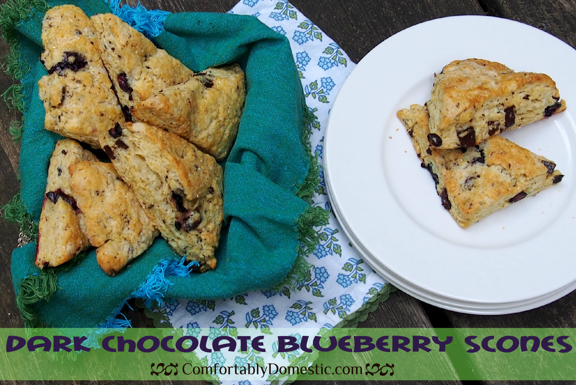 Dark Chocolate Blueberry Scones | ComfortablyDomestic.com