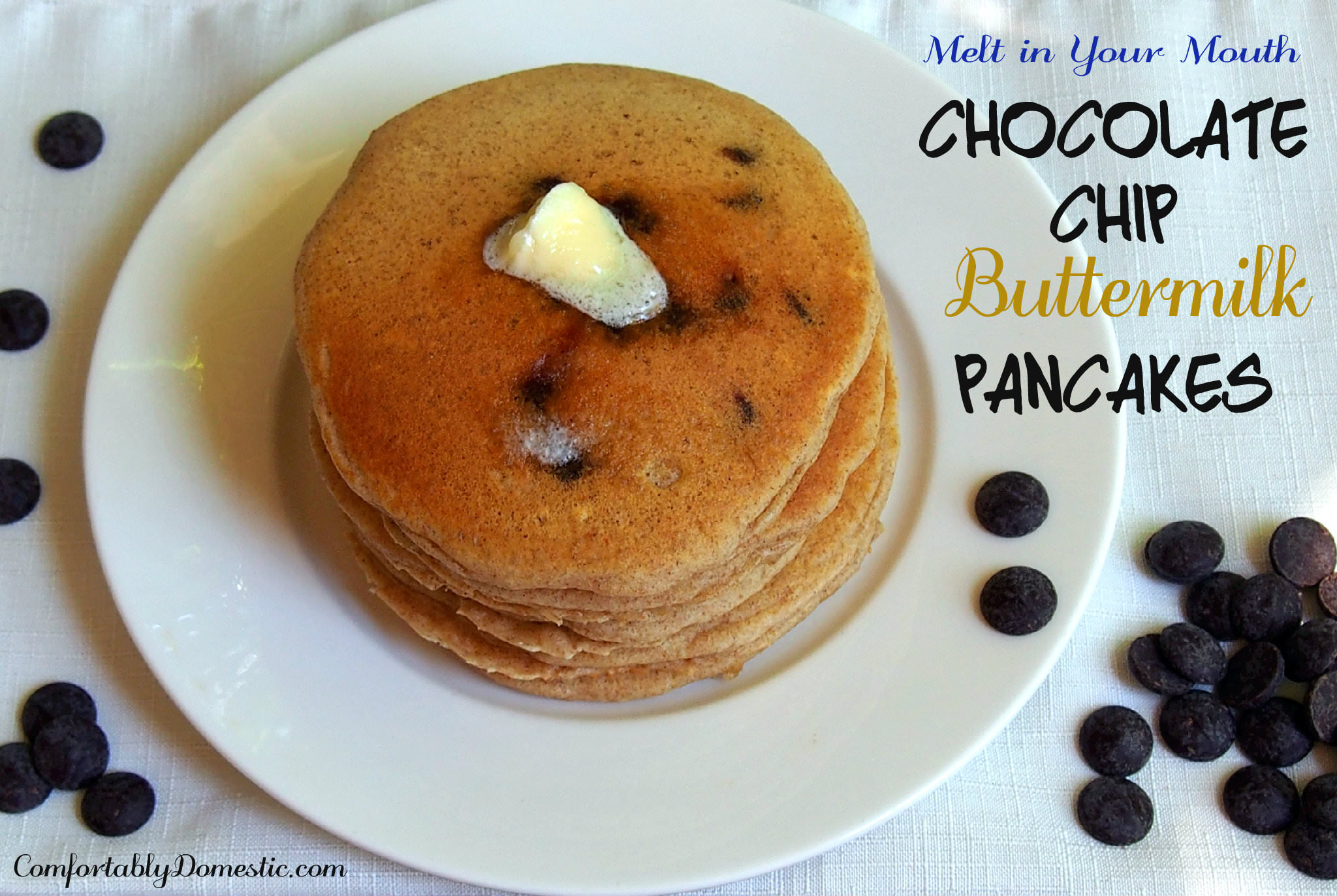 Fluffy Chocolate Chip Buttermilk Pancakes | ComfortablyDomestic.com