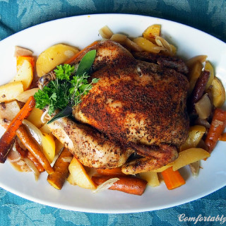 Slow Cooker Whole Roasted Chicken with Root Vegetables | ComfortablyDomestic.com
