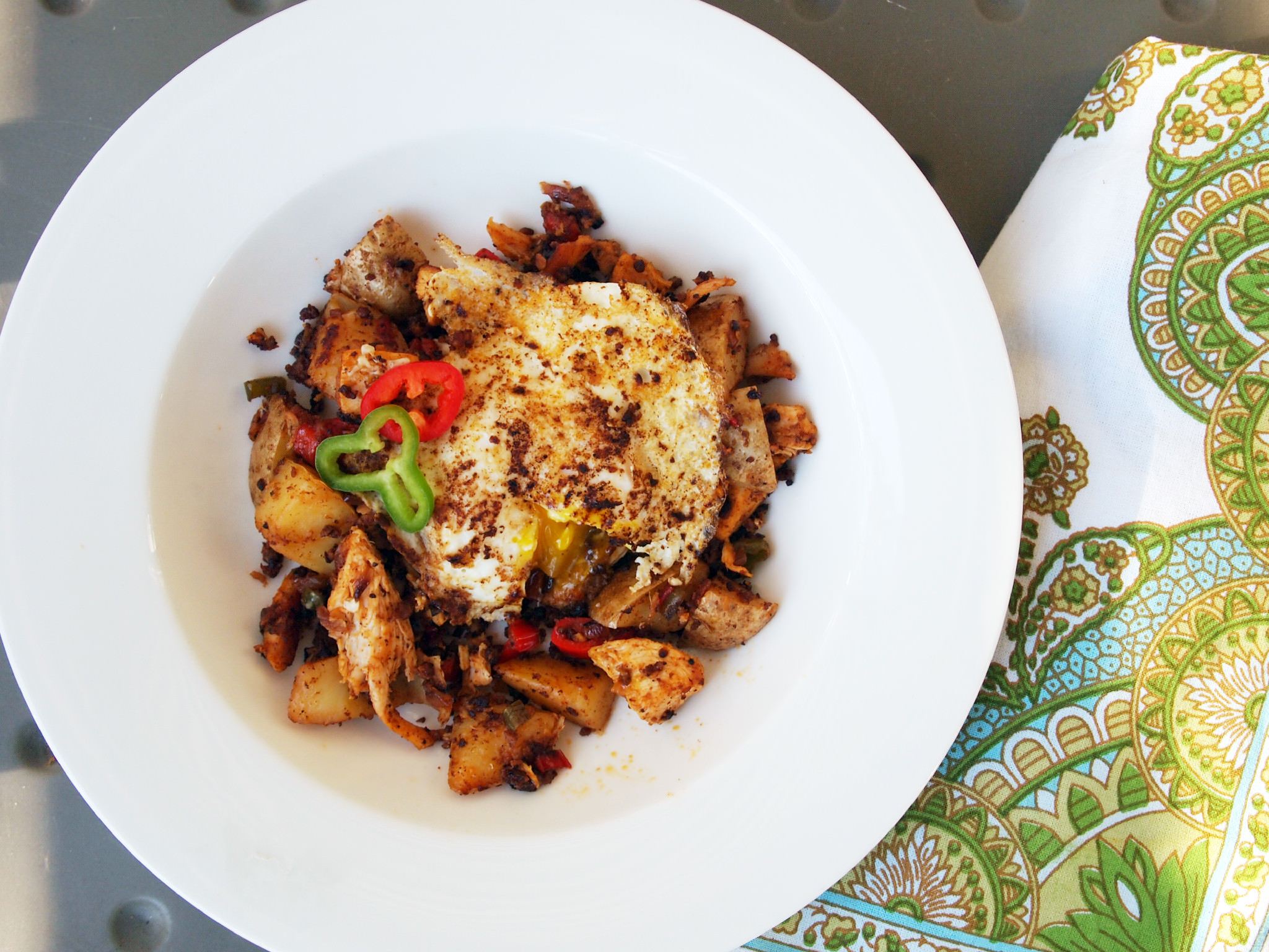 Turkey Hash with Chorizo and Eggs | ComfortablyDomestic.com