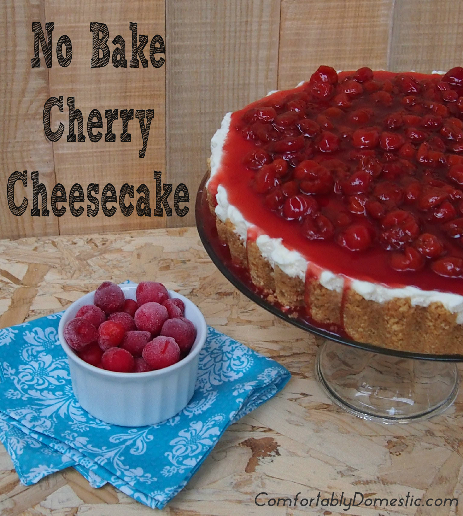 No Bake Cherry Cheesecake is a quick and easy dessert alternative to traditional cheesecake. Get all of the rich flavor, without all the work! || ComfortablyDomestic.com