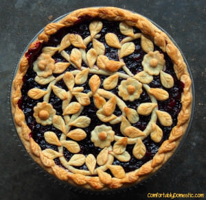 Very berry cherry pie, with its fresh cranberries, wild blueberries, and tart cherries, has show stopping flavor. This pie is bound to be requested again and again.