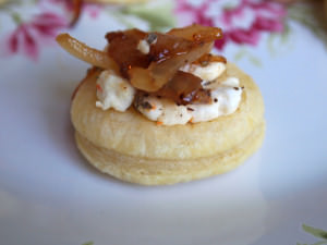 Caramelized Onion Goat Cheese Puffs are an easy-to-make, savory appetizer, ideal for holidays and special occasions. | ComfortablyDomestic.com