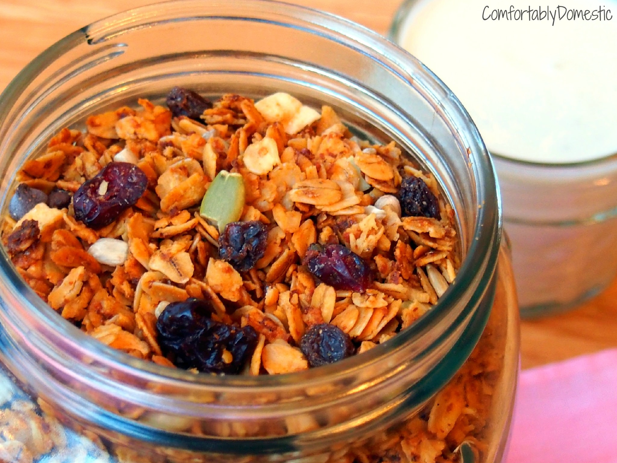 Nut-free Granola | ComfortablyDomestic.com is packed with protein and allergy friendly.