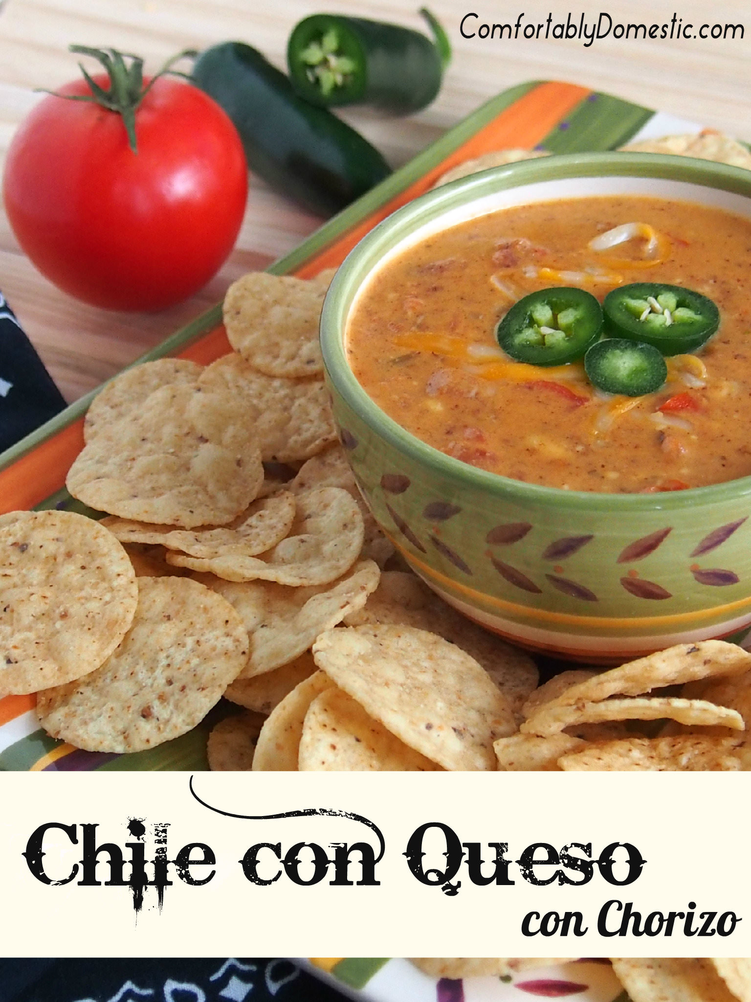 Chile con queso con chorizo is a deliciously creamy, chile-infused, Tex-Mex style cheese dip, made extra special with the addition of chorizo sausage. | ComfortablyDomestic.com