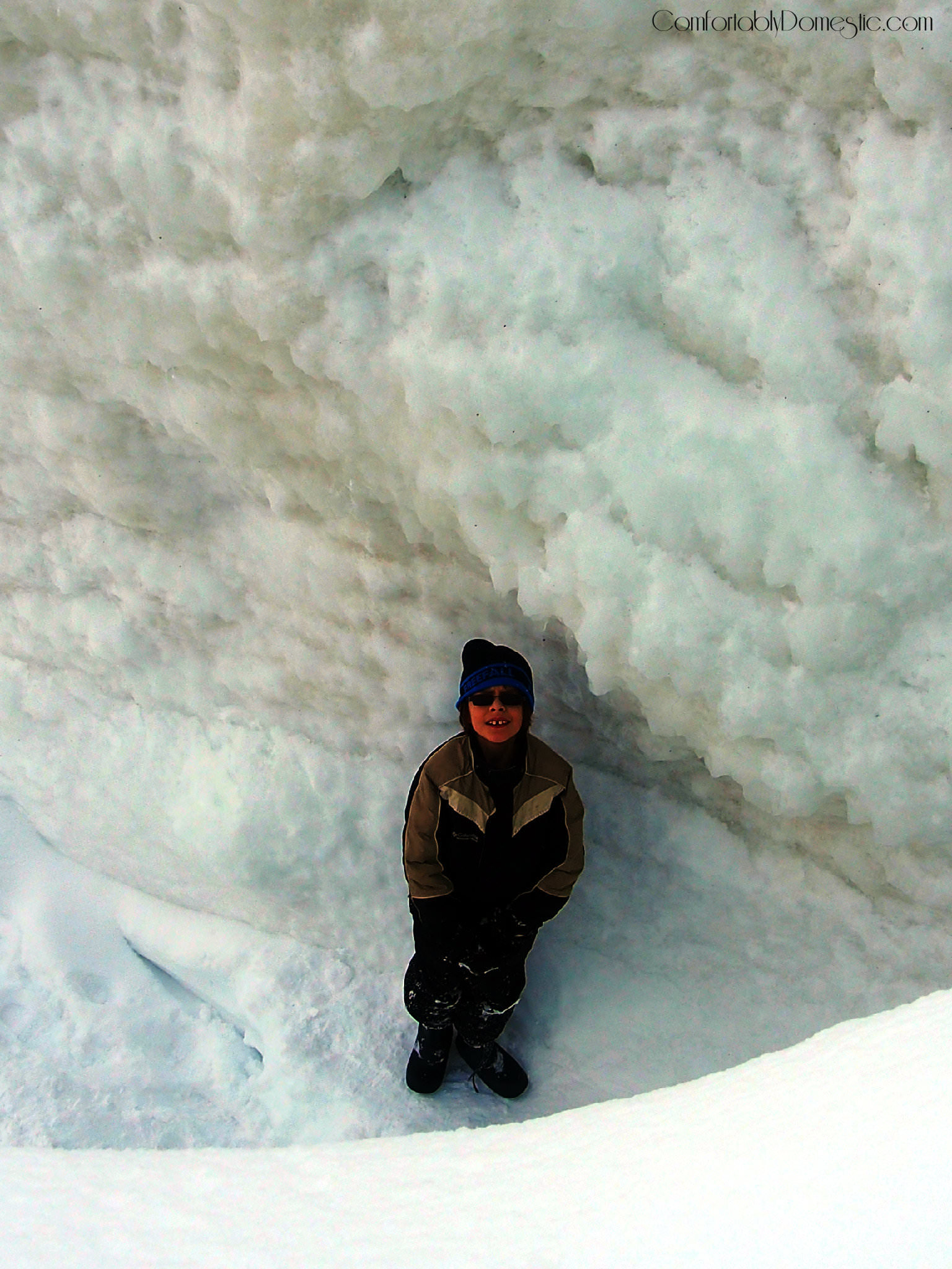 Son #2 at the bottom of an ice trench