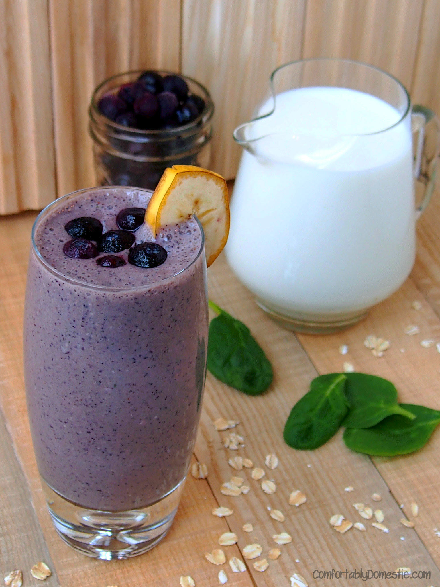 Healthy and delicious, Blueberry Banana Smoothies (with Secret Spinach) | ComfortablyDomestic.com
