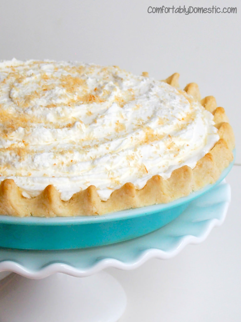 allergy friendly coconut cream pie recipe makes a rich and delicious pie, but even better, it's gluten free and sugar free, too.