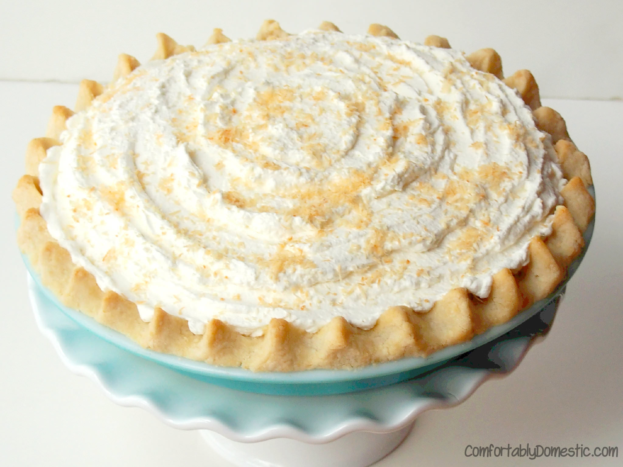 Sugar Free Gluten Free, Allergy Friendly Coconut Cream Pie from ComfortablyDomestic.com